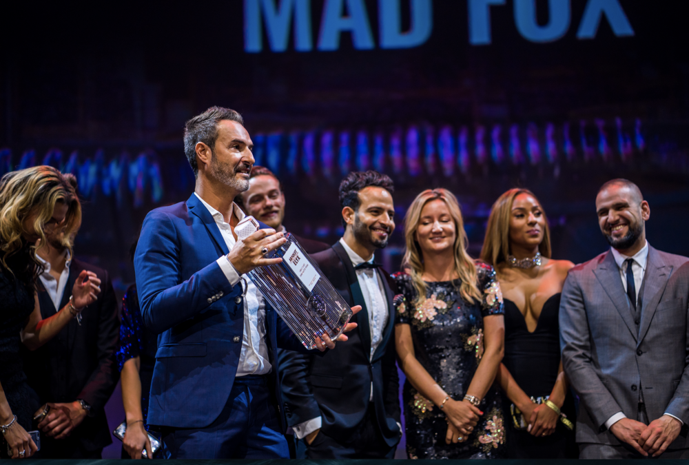 Yossi Eliyahoo and the Mad Fox team collecting the Best Night Club Award