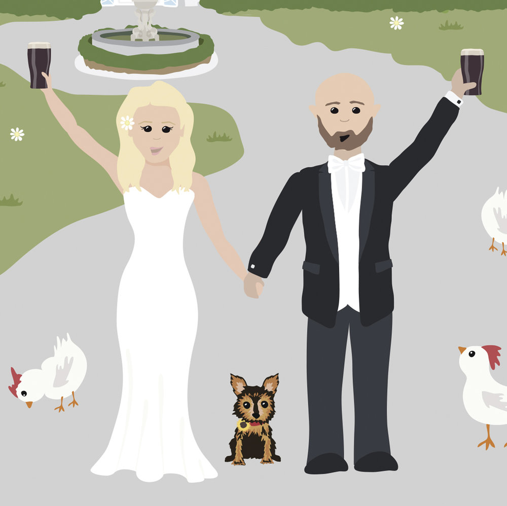 The happy couple with their furry and feathery babies!