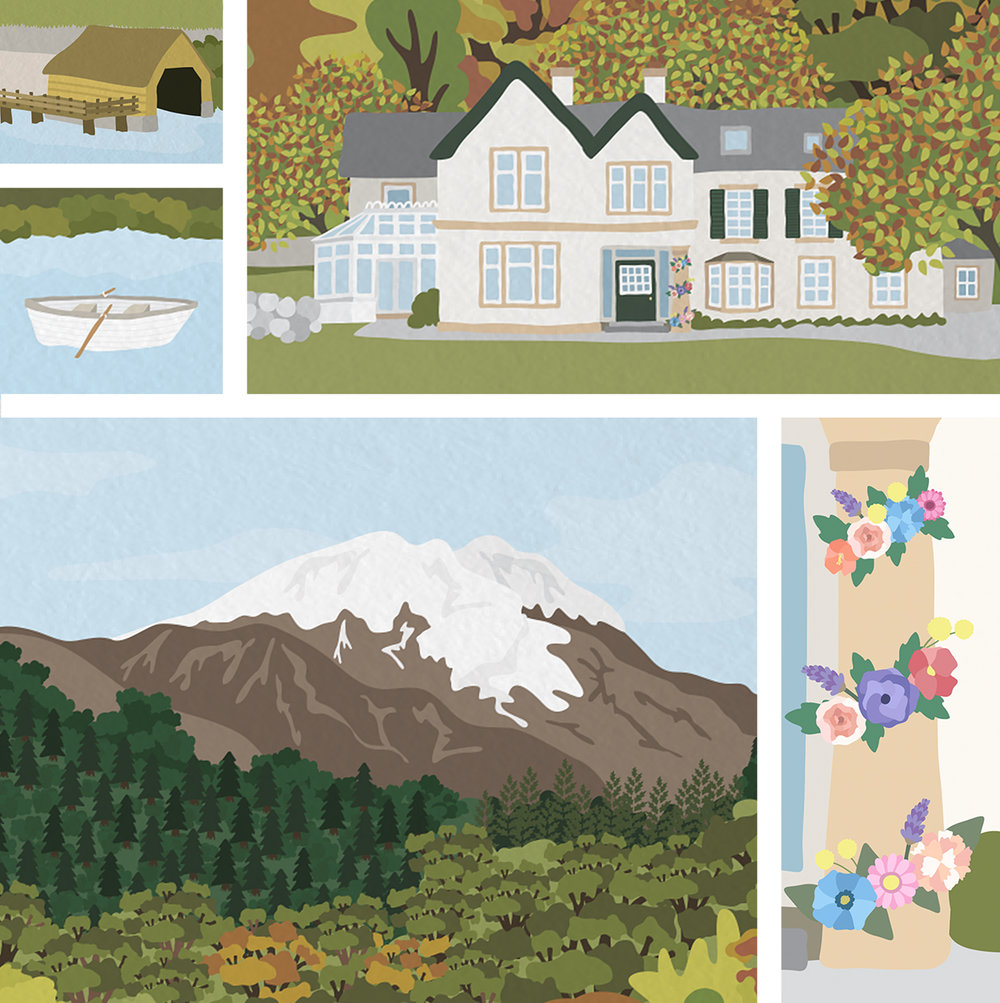 Illustration details including wedding venue - Altskeith House, The Trossachs, Scotland