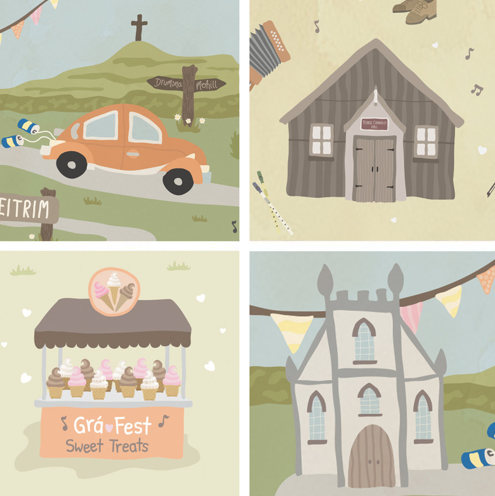Illustration details: Their 1974 Beetle, Jimmy's Hall , an Ice-cream stall and Drumsna Church, Leitrim