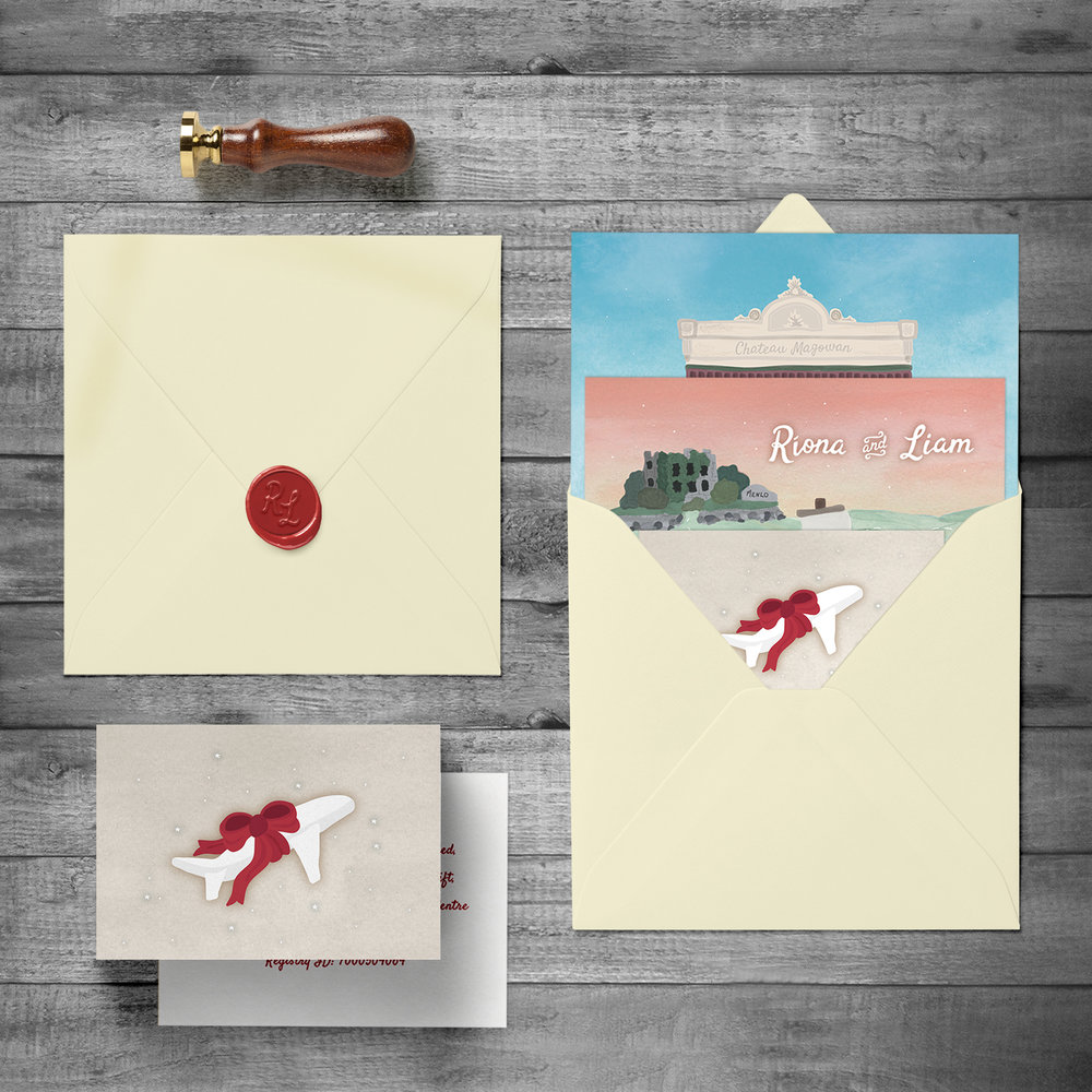 Wax-sealed envelope with custom stamp & Gift Registry card