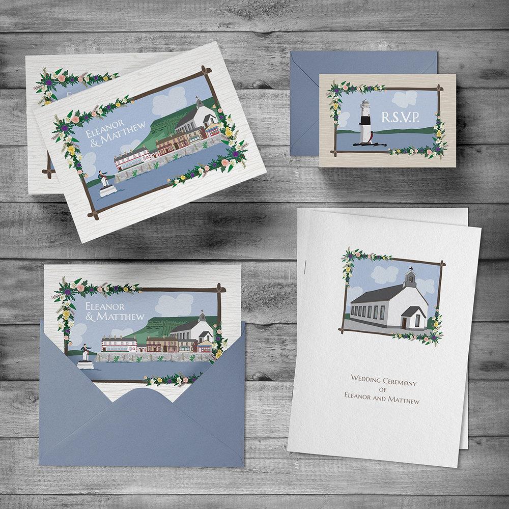 Wedding invitation, rsvp, envelopes & ceremony booklet