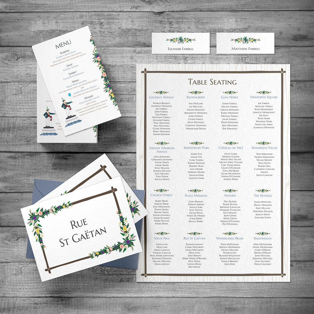 Menu, Place names,  Seating chart and Table names