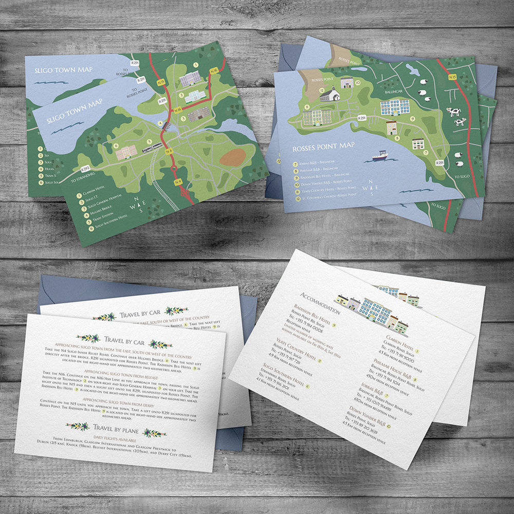 Wedding maps, Travel and Accommodation cards