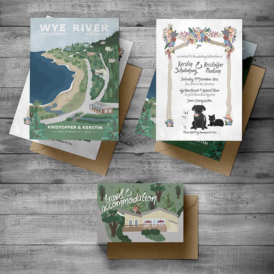 Wedding invitation & Travel information card