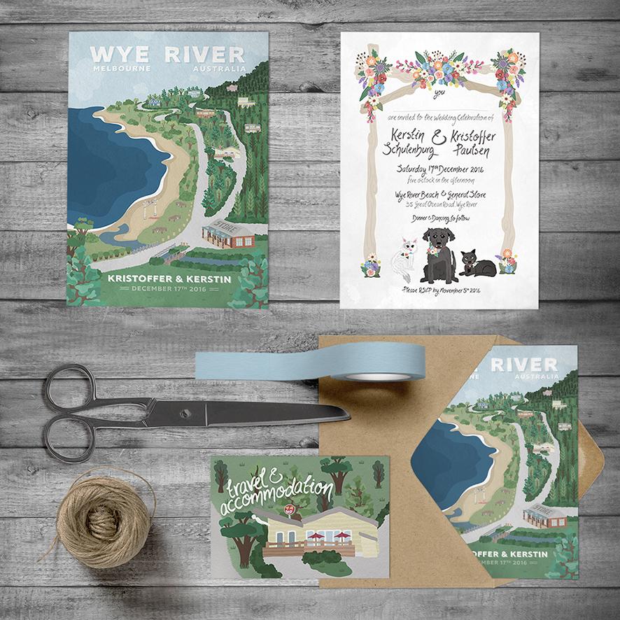 Wedding invitation and Travel & Accommodation card