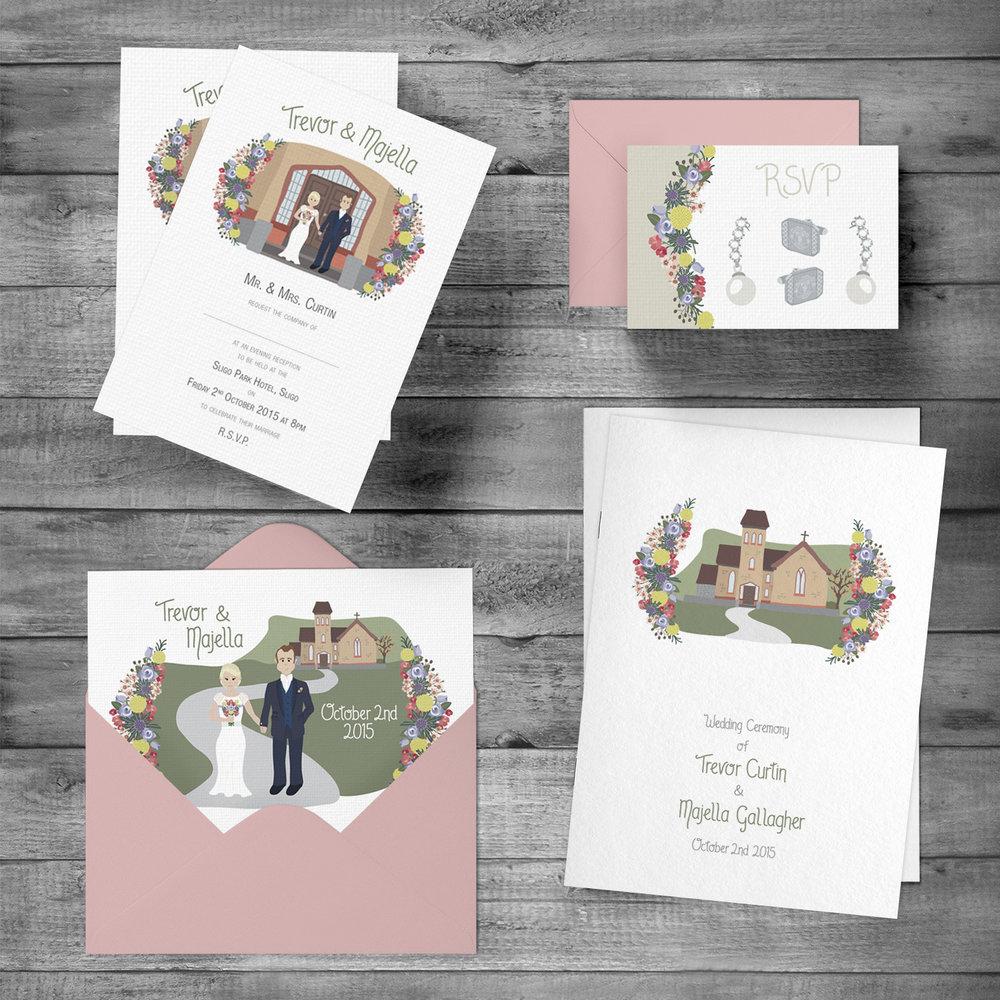 Evening Invitation, RSVP with envelope, Wedding Invitation with envelope & Ceremony Booklet