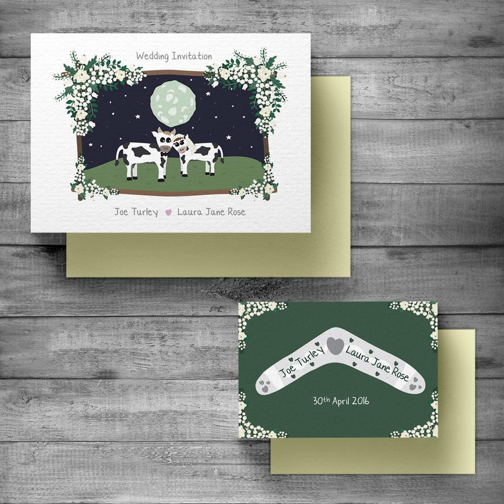 Wedding invitation, rsvp & matching envelopes