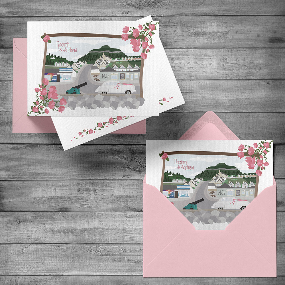 Wedding invitation with matching envelope