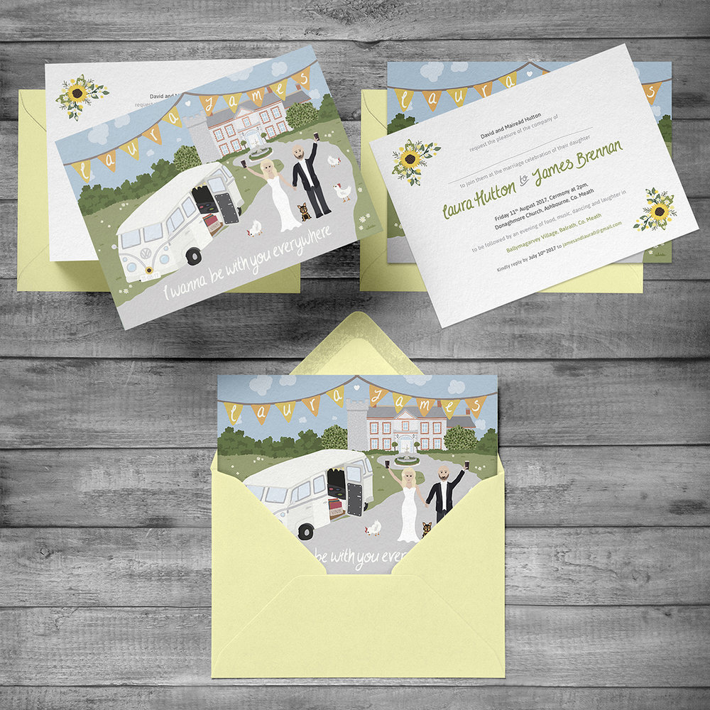 Wedding invitation front & reverse with envelope