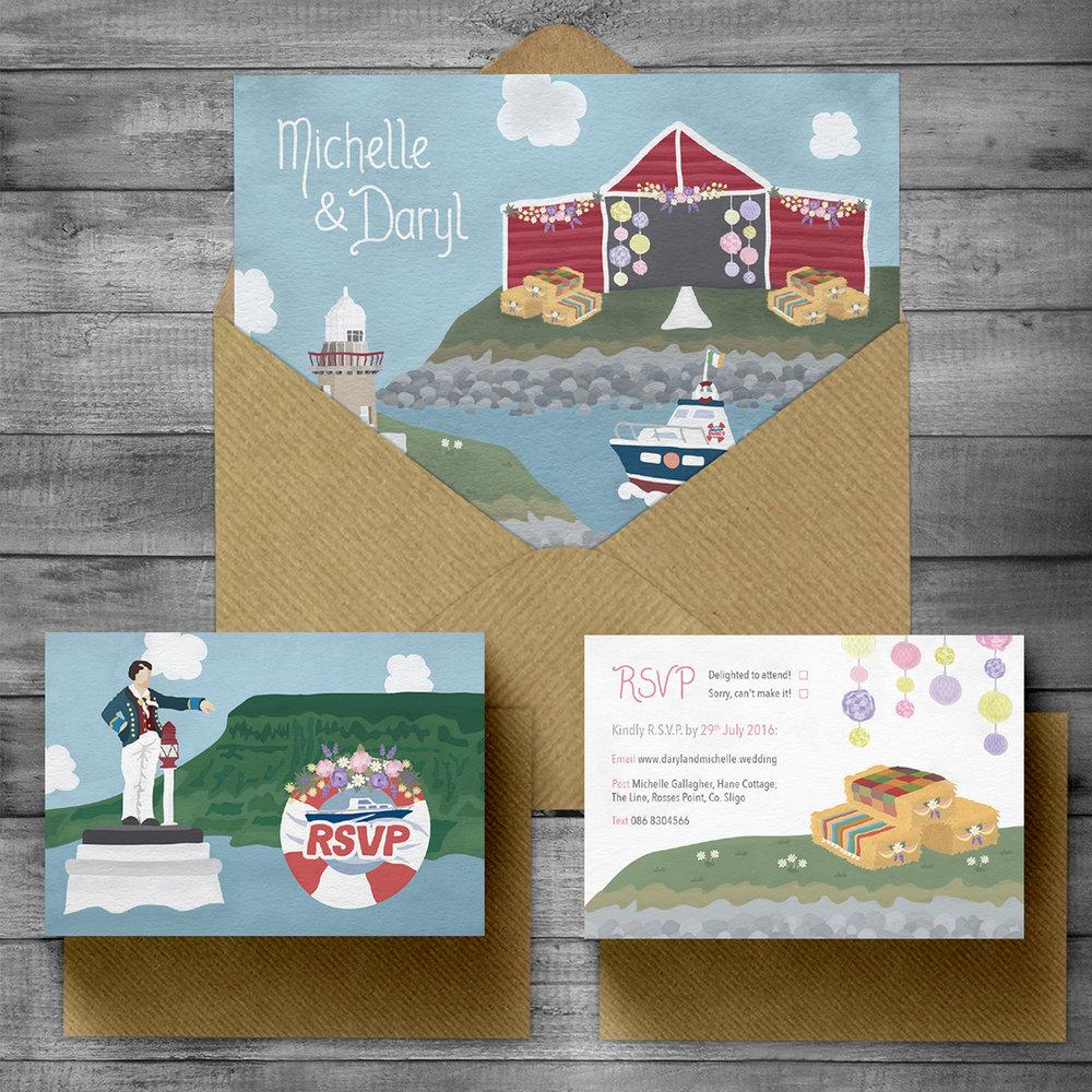 Wedding Invitation & RSVP with envelopes