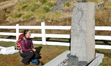 Me at the grave of Ernest Shackleton at King Edward Point on South Georgia, trying to take it all in. Photograph: Helen Czerski