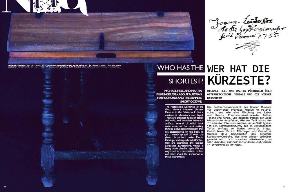 Wer hat die kürzesTe?   Martin Pühringer und Michael Hell sprechen über das Leydecker Cembalo und die Wiener Bassoktave.