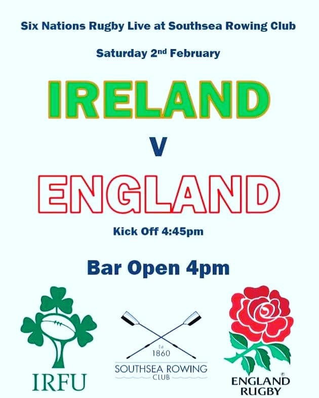 Come on England!! 🏉 Why not join us to cheer on England for this weekend's big 6 nations match down Southsea Rowing Club!  Bar open, big TV and cheap beer 🏉🏴󠁧󠁢󠁥󠁮󠁧󠁿🍻 Friends and family all welcome!  #rugby #england #6nations #southsea #rowing #community