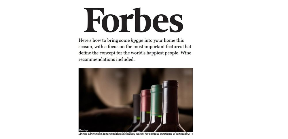 Speaking to Cathy Huyghe for Forbes about hygge + wine