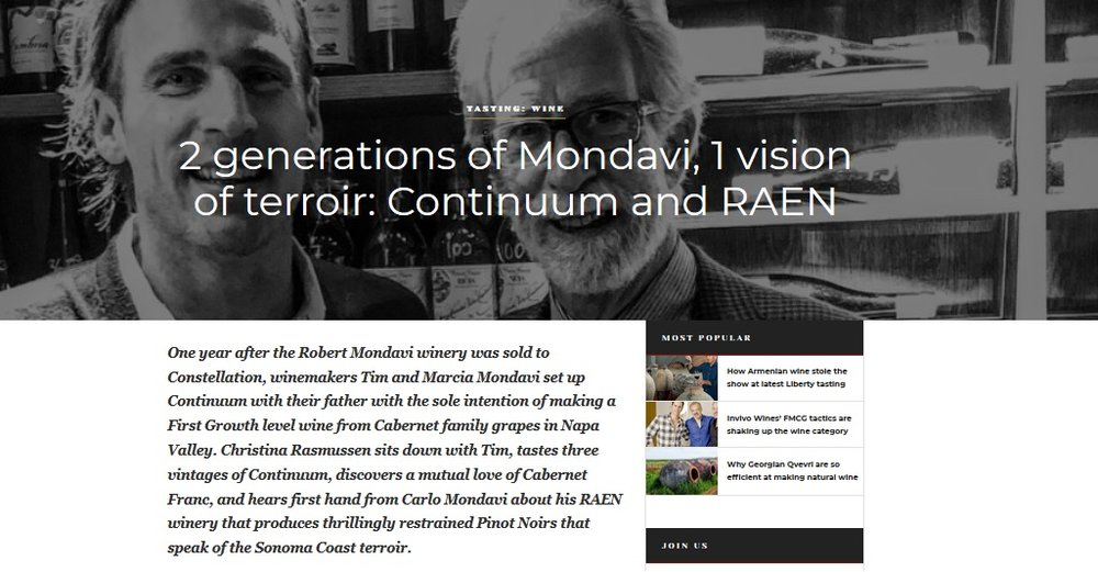 Tim and Carlo Mondavi: Continuum + RAEN