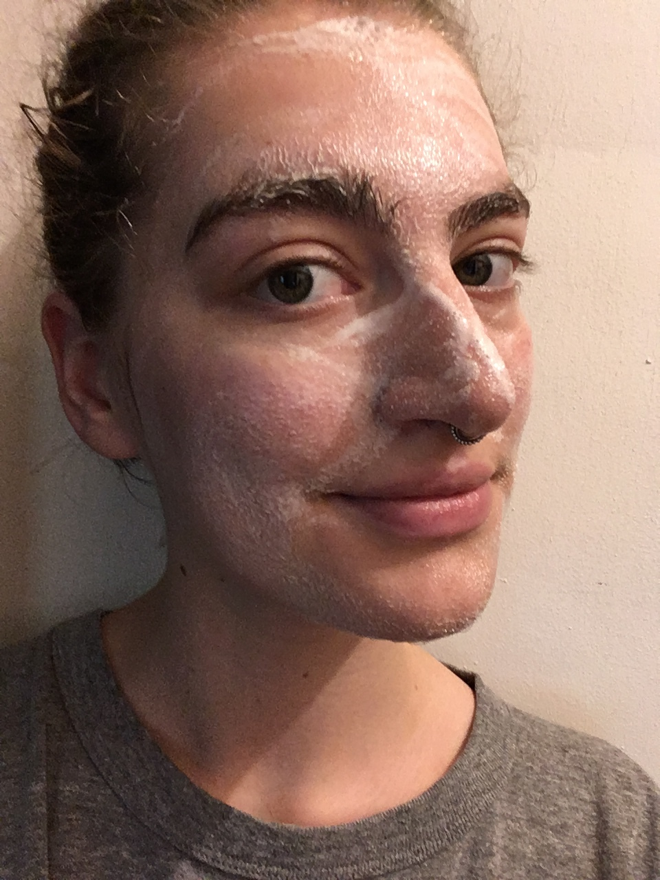 Me with spearmint cleansing mask on! Instructions had me leave it for ten minutes. It felt tingly cool with no pinching.