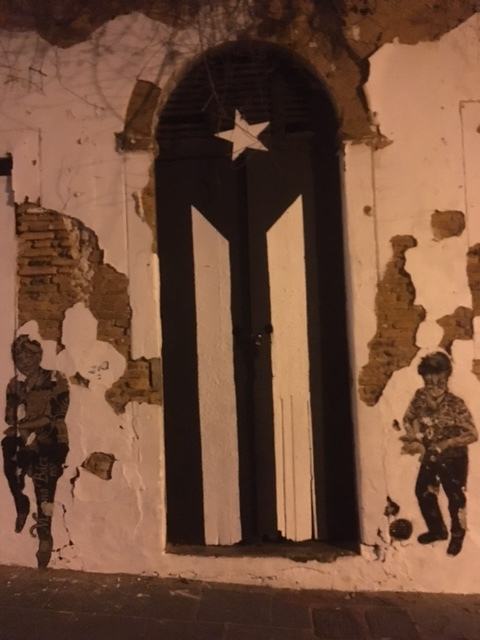The symbol of the Puerto Rican flag in black and white representing independence.