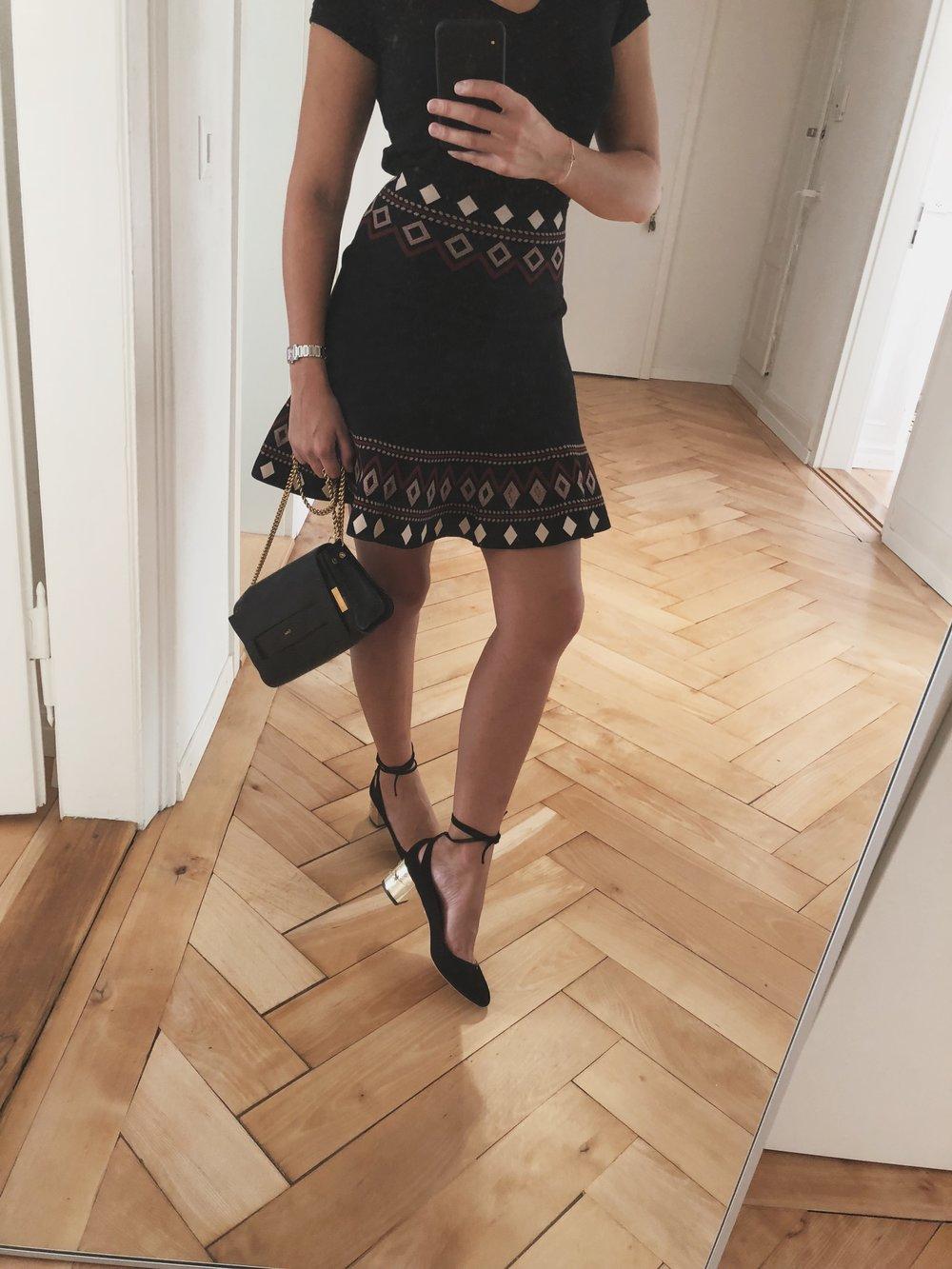 Bag - Chloe, Skirt - Alexander McQueen, Shoes - Aquazzura, T-shirt - Anine Bing