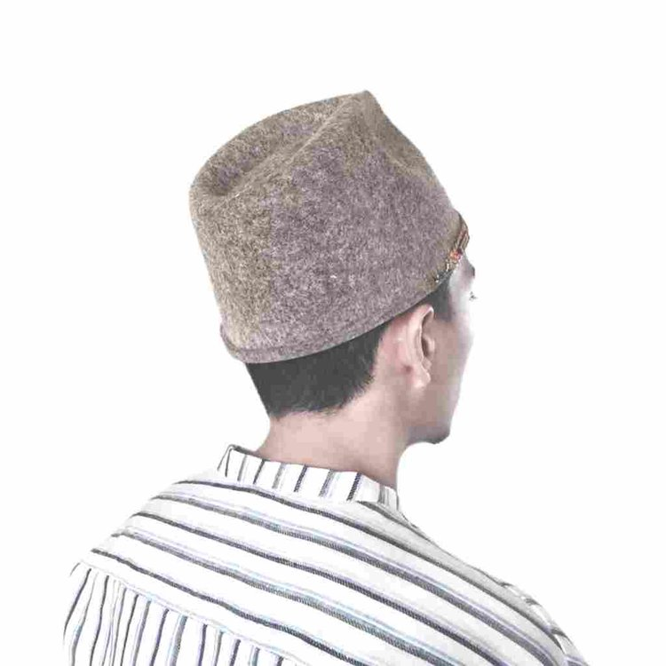 Warm Ash Kufi Hat (with Vegetable Tanned Leather Cord) — IKIYO a089ee6968d