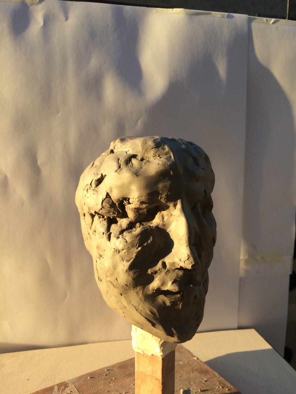 'Blind' self portrait in clay, London, February 2017