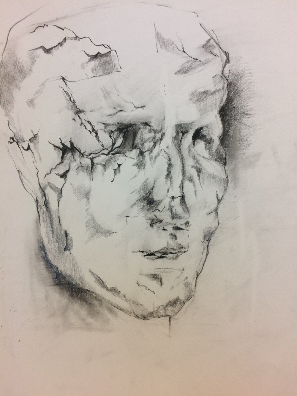Drawing of clay self portrait, February 2017  .