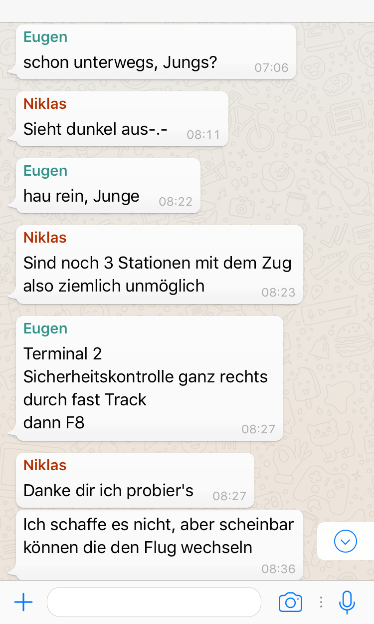 Casual WhatsApp chat about Niklas …