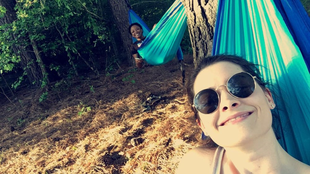 This cute chica is one of my new Bumble BFF friends here in Raleigh and she is my person of choice down here for reals I bought a hammock off Amazon and she got a matching one so we could hammock in my yard!