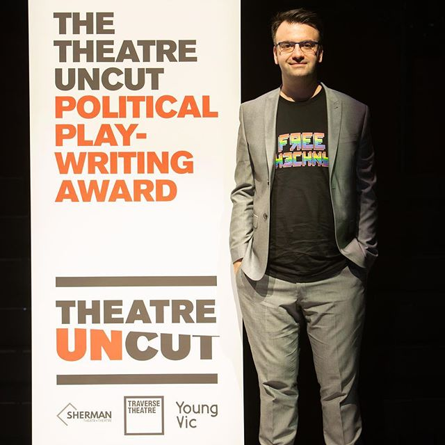 """An honor to be shortlisted and to spend the day with @theatreuncut at the @youngvictheatre - thanks also to @shermantheatre and @traversetheatre  It was amazing to hear a section of Compression out loud.  Big congrats to Sami Ibrahim and his winning play """"two palestinians go dogging"""" -  looking forward to the future of Compression and the future in general. cause why look back!! @hannahrp and #EmmaCallander"""