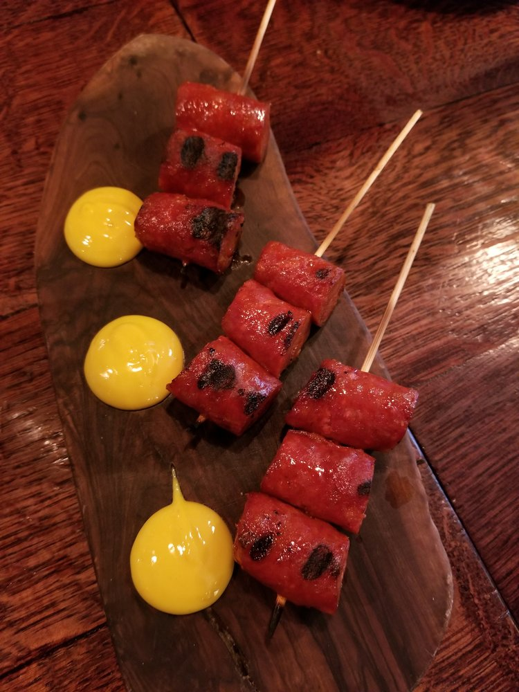 Smoked Chorizo Skewer with Saffron Alioli