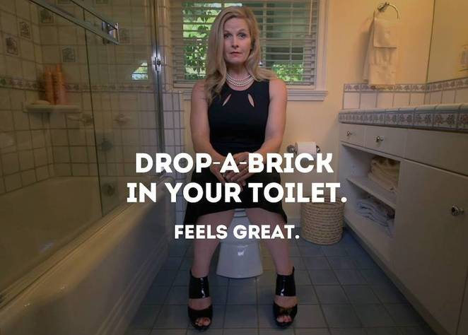 GIVE A $H!T, DROP A BRICK! We flush our toilets with potable water. Even an ultra-low flush toilet uses up to 6 litres of clean water per flush. An older toilet uses up to 18 litres per flush. Putting a brick, or any object denser than water, in the cistern will reduce the volume of the flush and save water. The City of London have some more tips of water conservation here. And then there's always 'if it's yellow, let it mellow...'