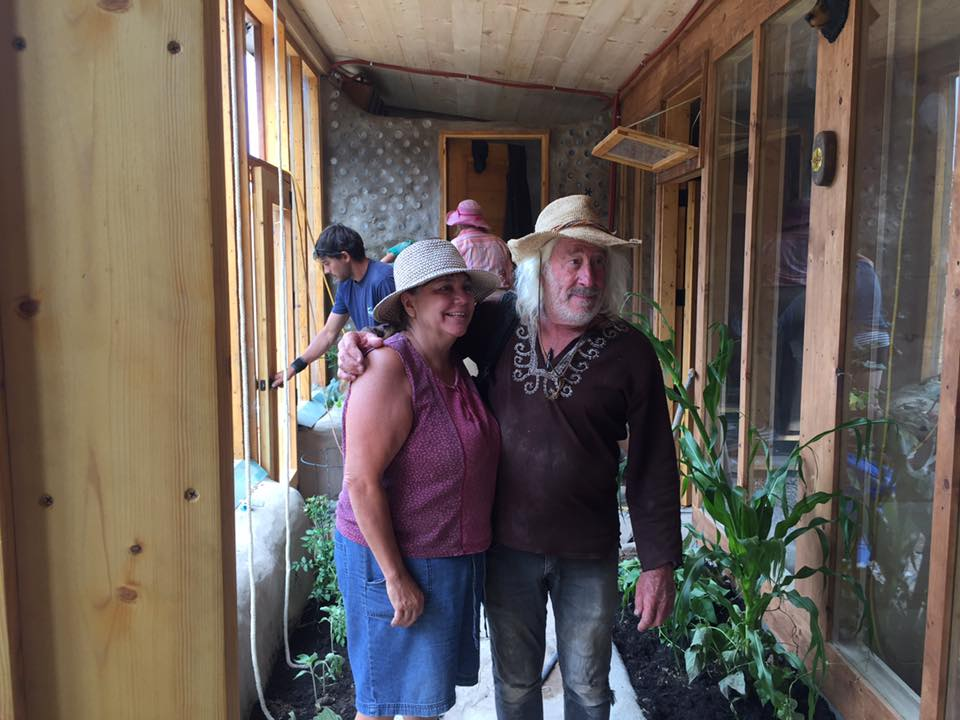 Terrylynn Brant and Michael Reynolds      Six Nations Earthship , July 2016