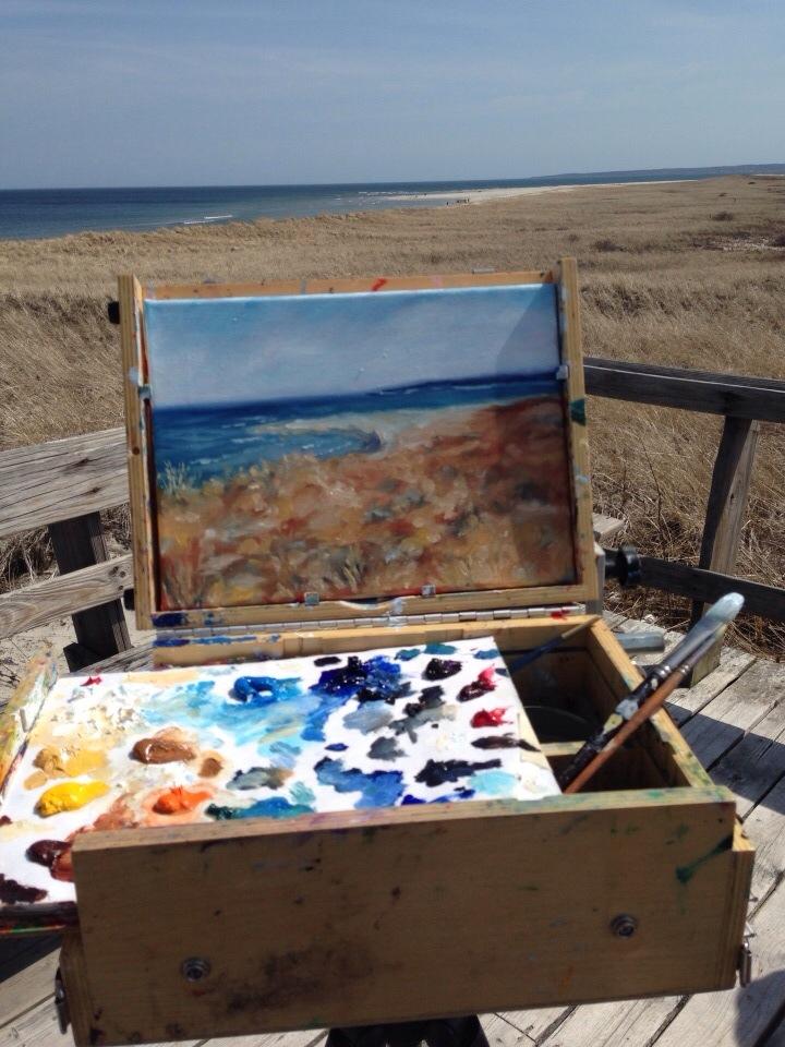 Plein air painting at Plum Island