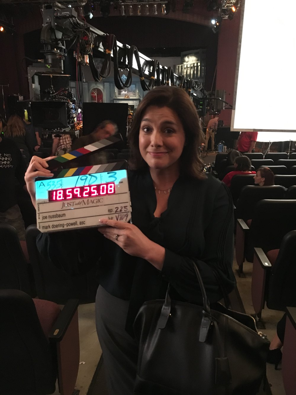 "Catia Ojeda on the set of ""Just Add Magic."""