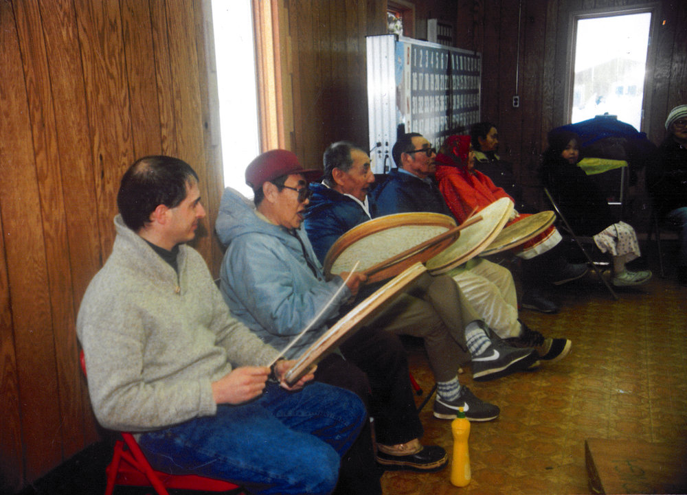 drumming with elders, Savoonga, St. Lawrence Island, Alaska