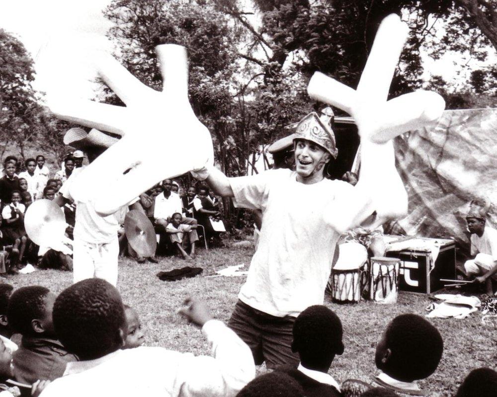 Makanda Mathlanu, kwaZula Natal, South Africa. Riccio performing at an orphanage. Photo: Shelley Kjonstad