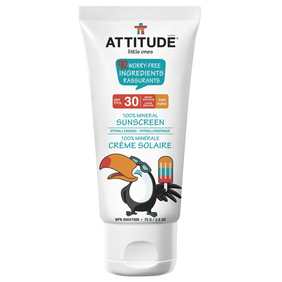 Attitude Little Ones 100% Mineral Sunscreen - SPF 30, 2.6 oz.  No rating available.Another Canadian company, ATTITUDE Little Ones Sunscreen, made with 100% mineral content, can help the whole family prevent sunburn. This formula specifically addresses the needs of baby's delicate skin, offering you the peace of mind of both strong and gentle protection.Available Attitude and  Well.ca