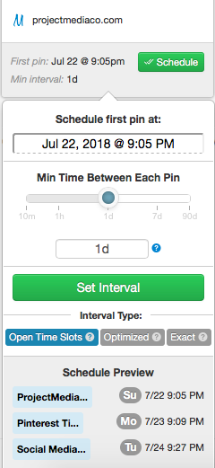 Set a pinning interval