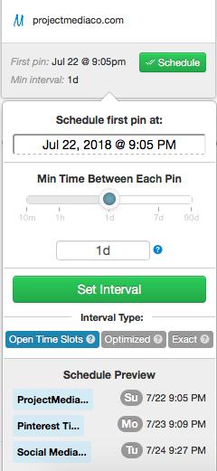 Set a pinning interval