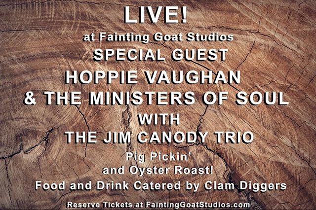 Join us May 19! For a night of live music, food and drinks! With performances by Hoppie Vaughan & The Ministers of Soul and the Jim Canody Trio. Doors open at 5pm, and music starts at 7pm. Tickets are $50 each. Included with your ticket is an all you can eat Pig Pickin' and Oyster Roast! Food and drink catered by Clam Diggers Pub & Eatery in Bedford VA. Tickets are limited so reserve your's today! 21+ ONLY Unless designated driver. All proceeds go to helping young musicians cover their recording costs.  #music #festival #concert  #recordingstudio #bedford #virginia @lynchburgconcerts