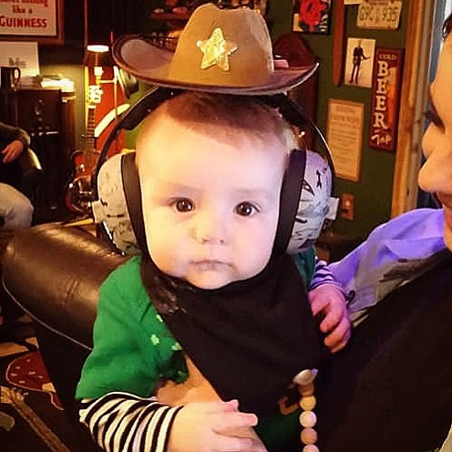 Sheriff Wolfe keeping us safe, and in tune! @wolfemuthaa #babysheriff #TheGOAT