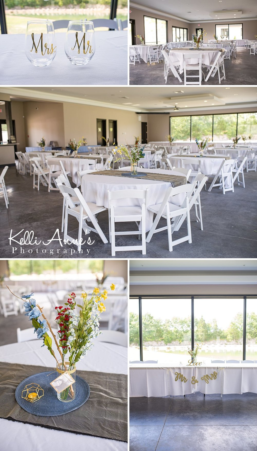 Reception Details, Blue, Slate, Grey, Gold. Mr. & Mrs. , Flowers, Mr. & Mrs. Glasses, Photo centerpieces, Simple Centerpieces