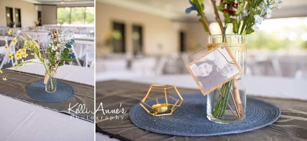 Reception Details, simple centerpieces, photo centerpieces, blue and grey, white linens, natural light, sunset bluffs venue, washington mo