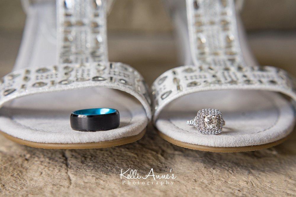 Wedding Bands, Silver Rhinestone Wedding shoes, Men Black with blue wedding band, Large square wedding band, Wedding Details, Natural Light, Washington MO, Sunset Bluffs Venue