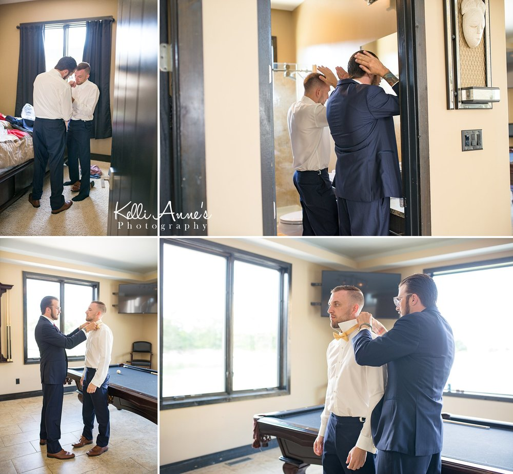 groom getting ready, bow tie, cuffs, natural light, pool table, sunset bluffs, washington mo