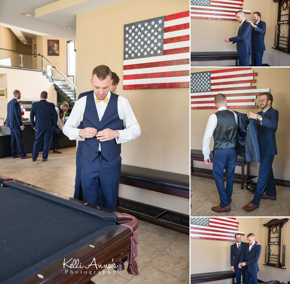groom getting ready, vest, bow tie, jacket, pool table, american flag, best man, natural light, sunset bluffs, washington mo