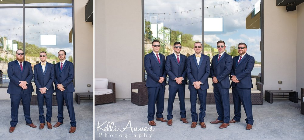 Groom with Groomsmen, Patio, Shades, Sunglasses, Patio Furniture, String Lights, Large Windows, Navy Suits, Yellow Bow Tie, and Burgundy Ties