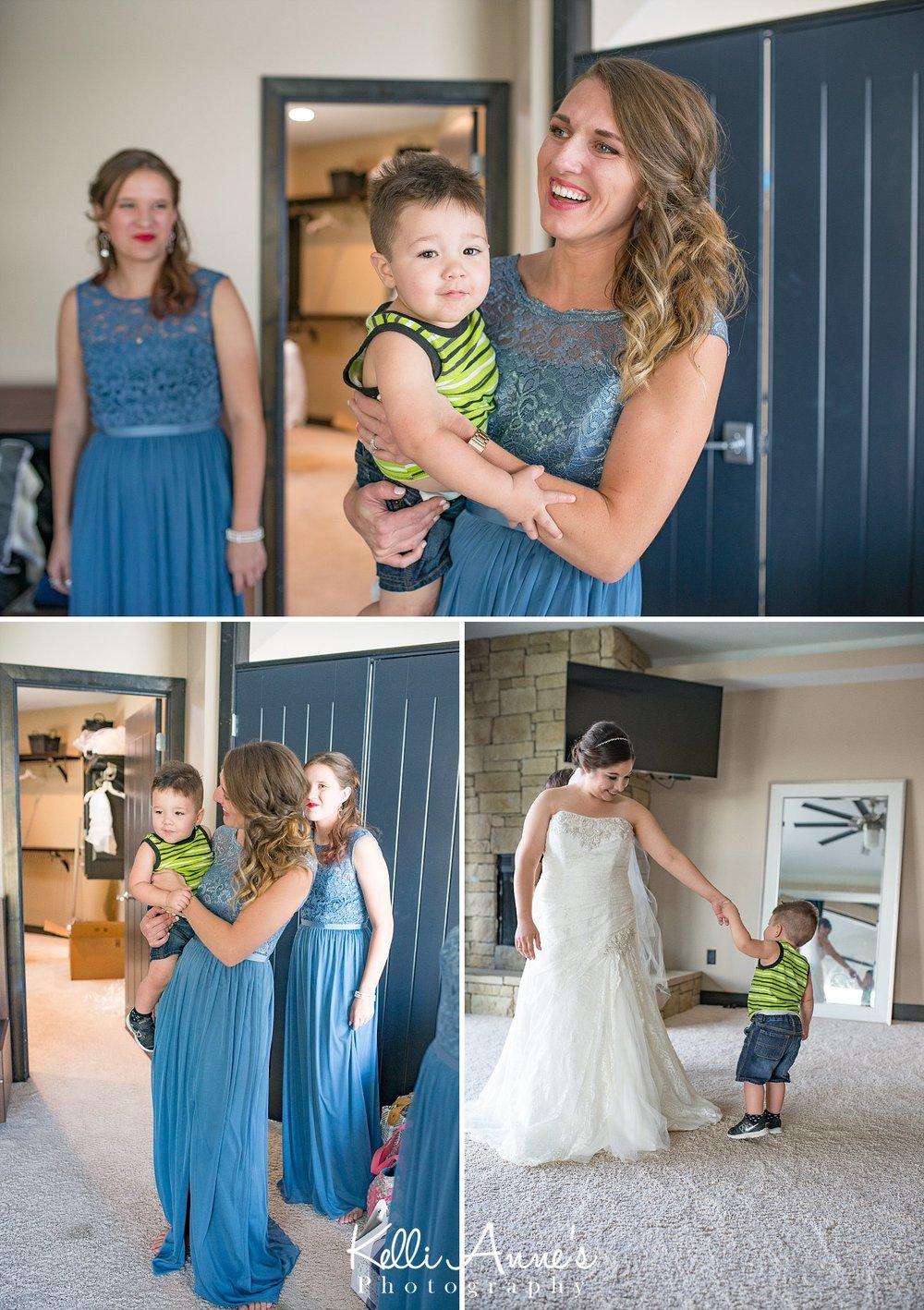 First Look, Mother Son, Bride, little boy, bridesmaids, bridal suit, Sunset Bluffs, washington mo