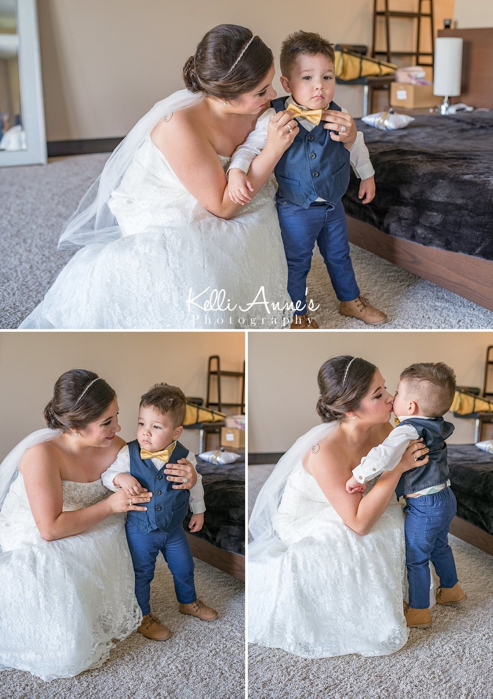Bride and Son, Mother and Son, Yellow Bow Tie, Little Suit, Kisses, Sunset Bluffs