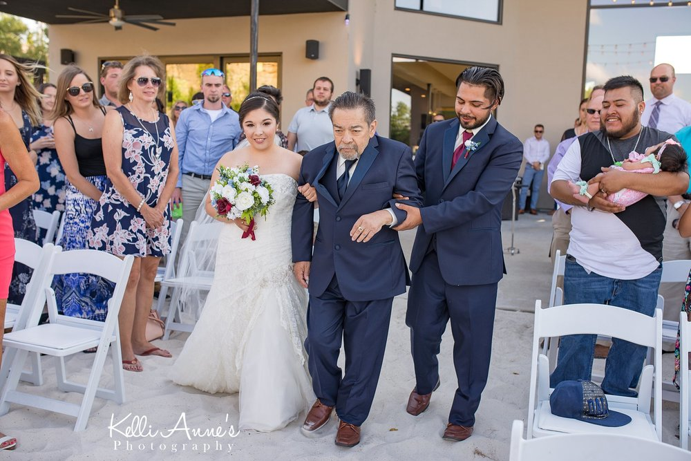 Father Daughter, Walking down the aisle, White sand, Beach Ceremony, Washington MO, Sunset Bluffs